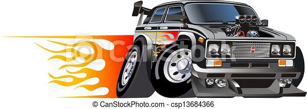Cartoon retro hot rod - csp13684366