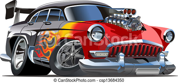 Cartoon retro hot rod - csp13684350