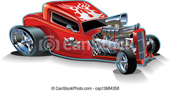 Cartoon retro hot rod - csp13684358