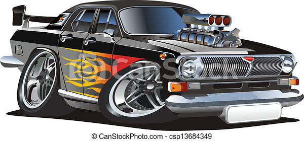 Cartoon retro hot rod - csp13684349