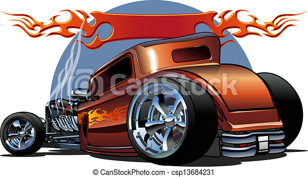Cartoon retro hot rod - csp13684231