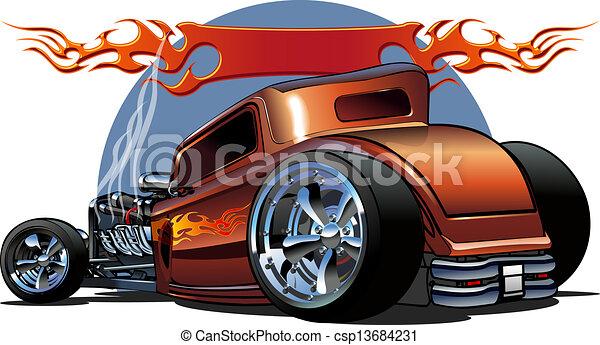Cartoon retro hot rod - csp13684231