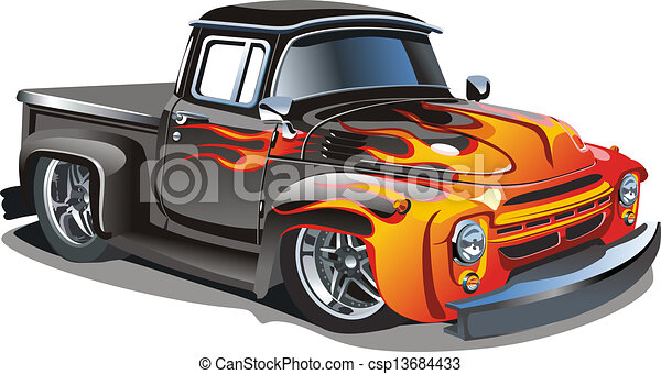 Cartoon retro hot rod - csp13684433