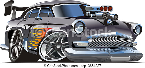 Cartoon retro hot rod - csp13684227