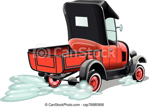 Cartoon retro red pickup truck isolated on white background. Vector illustration. - csp76980906