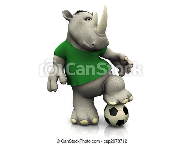 Cartoon rhino posing with soccer ball. - csp2078712