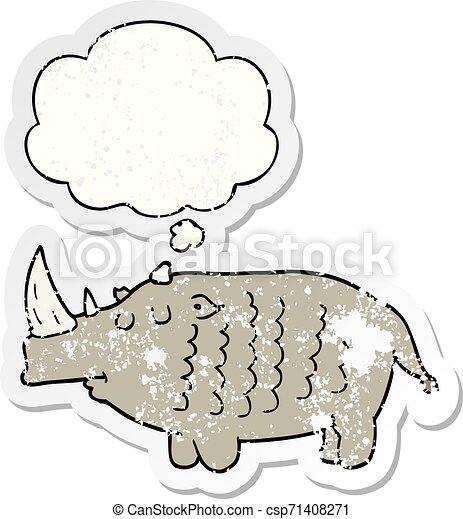 cartoon rhinoceros and thought bubble as a distressed worn sticker - csp71408271