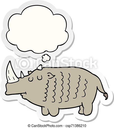 cartoon rhinoceros and thought bubble as a printed sticker - csp71386210