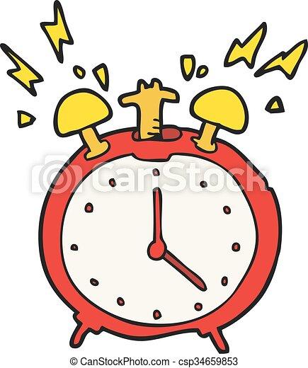 freehand drawn cartoon ringing alarm clock rh canstockphoto com