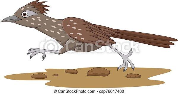 Cartoon Roadrunner bird running on the road - csp76847480