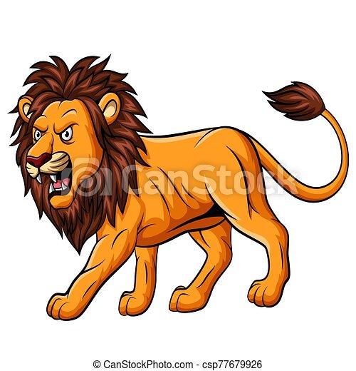 Cartoon roaring lion mascot on white background - csp77679926
