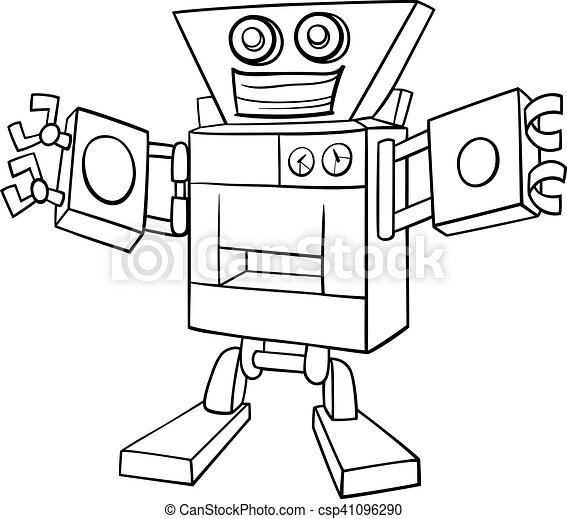 Cartoon robot coloring page. Black and white cartoon illustration of ...