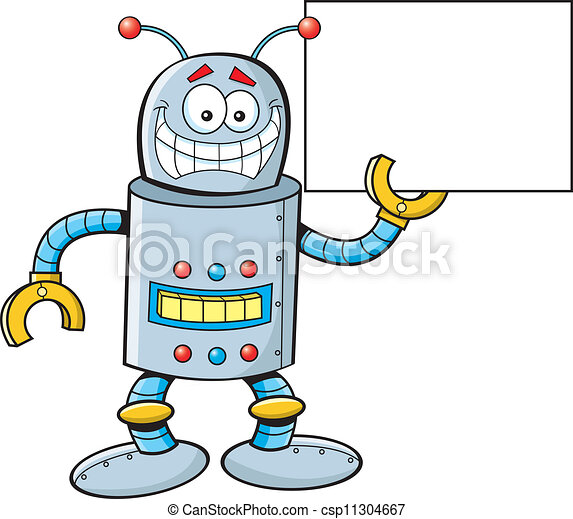 cartoon robot with a sign cartoon illustration of a robot clip rh canstockphoto com robot clipart images cute robot clipart free