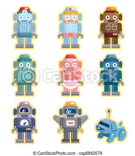 cartoon robots icons set - csp6842079