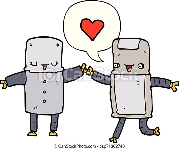 cartoon robots in love and speech bubble - csp71362740