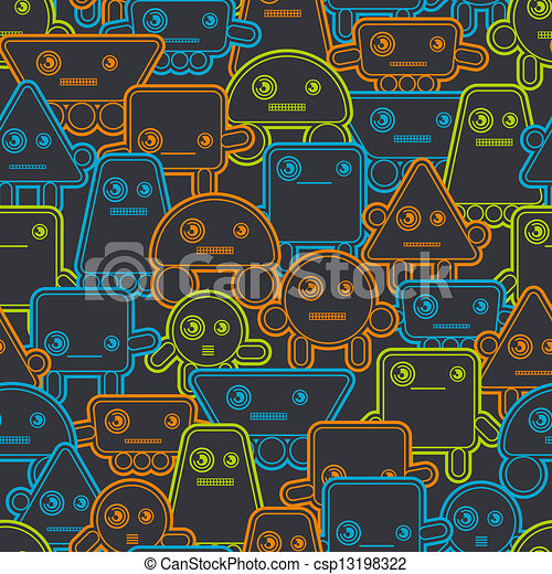 Cartoon robots seamless pattern. - csp13198322