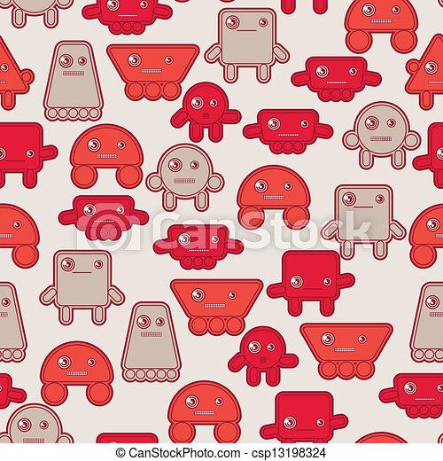 Cartoon robots seamless pattern. - csp13198324