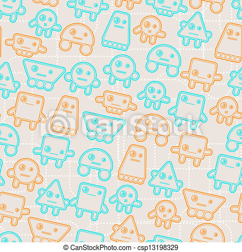Cartoon robots seamless pattern. - csp13198329