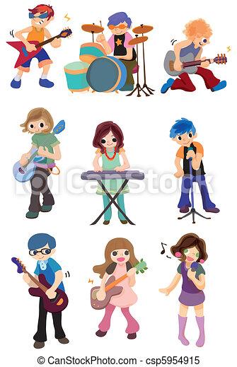cartoon rock band icon  - csp5954915
