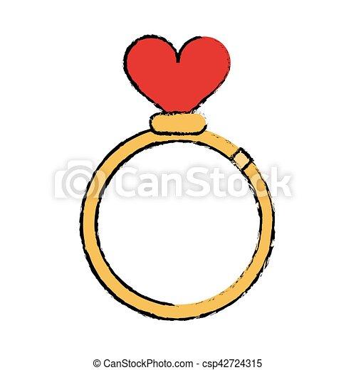 cartoon romance rings love heart wedding symbol vector illustration