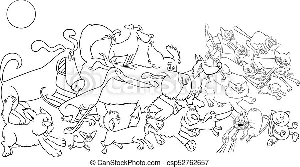 Cartoon Running Dog And Cats Color Book Black And White Cartoon Illustration Of Funny Running Dogs And Cats Animal