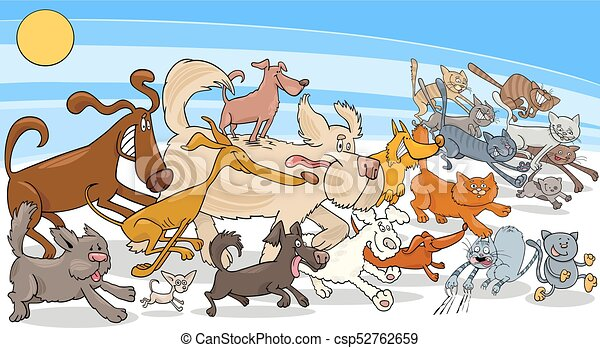 cartoon running dog and cats group - csp52762659