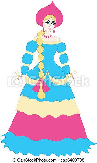 cartoon russian princess russian princess cartoon vector rh canstockphoto com Princess Mirror Clip Art Princess and Knight Clip Art and Graphics