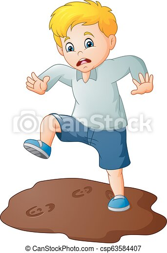 Illustration Of Cartoon Sad Boy With A Mud Puddle Canstock