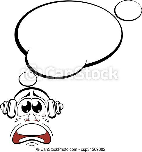 cartoon sad with headphones music lover vector illustration rh canstockphoto com music artist vector music vector art png