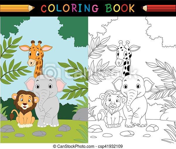 Vector Illustration Of Cartoon Safari Animal Coloring Book. CanStock