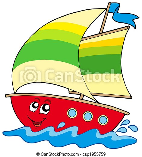 cartoon sailboat on white background isolated illustration rh canstockphoto com cartoon sailboat images cartoon sailboat pictures