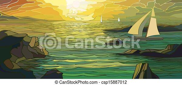 Cartoon sailing yacht in sunset. - csp15887012