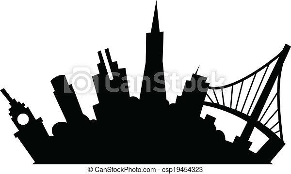 cartoon san francisco cartoon skyline silhouette of the city of san