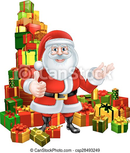 Christmas Giving Clipart.Cartoon Santa And Gifts