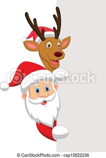 Cartoon Santa and red nose reindeer - csp15822236