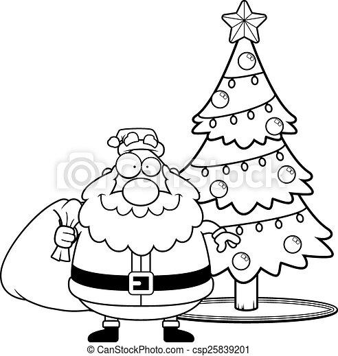 Cartoon Santa Claus Christmas Tree A Cartoon Illustration Of Santa