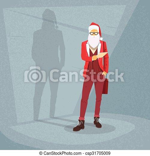 Cartoon Santa Claus Hipster Style Fashion