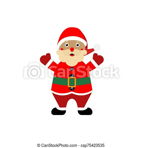 Cartoon santa claus on a white, isolated background. Vector illustration. - csp75423535