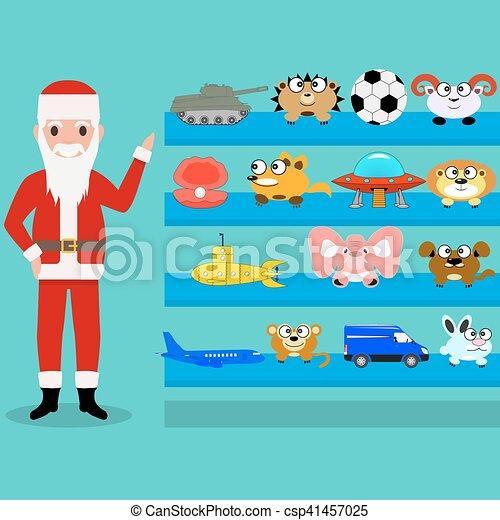 Cartoon Santa Claus shows the toys on the shelf - csp41457025