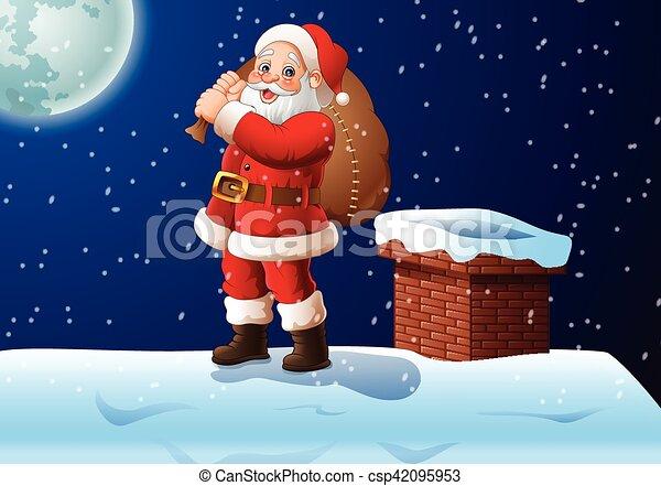 Vector Illustration Of Cartoon Santa Claus Standing On The