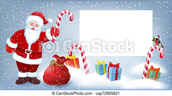 Cartoon Santa Claus wit striped candy and gift box anr big Christmas bag near billboard for layout congratulation or letter with list wish to Santa Claus - csp72865621