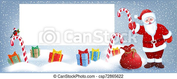 Cartoon Santa Claus wit striped candy and gift box anr big Christmas bag near billboard for layout congratulation or letter with list wish to Santa Claus - csp72865622