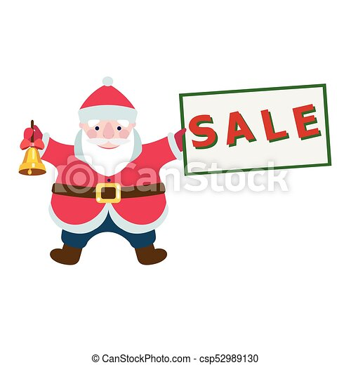 cartoon santa claus with a sale sign for your christmas and new year