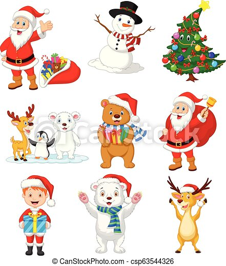 Cartoon Santa Claus with many animals collection set - csp63544326