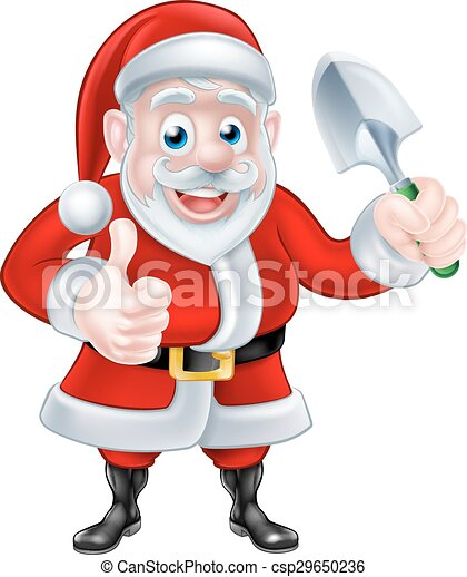 Cartoon Santa Giving Thumbs Up Holding Trowel Spade - csp29650236