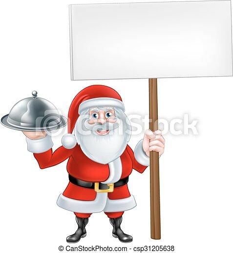 cartoon santa platter sign a christmas cartoon illustration of