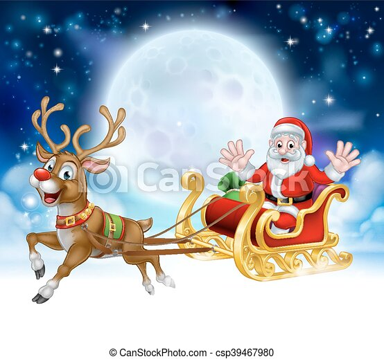 Christmas Scene.Cartoon Santa Reindeer Sleigh Christmas Scene