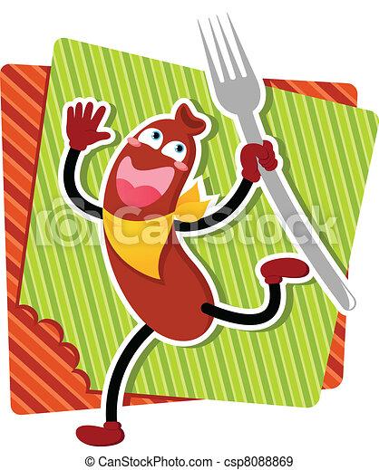 cartoon sausage - csp8088869