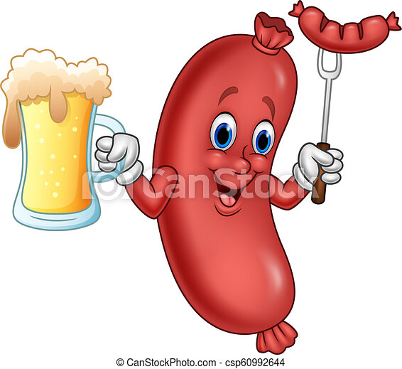 Cartoon sausage holding beer and sausage on fork - csp60992644