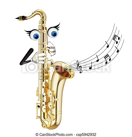cartoon saxophone - csp5942932